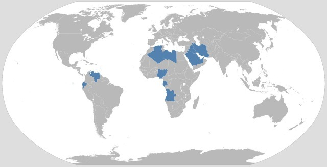 OPEC nations map