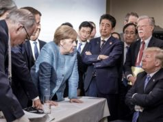 G7 meeting photo Trump Merkel 2018 trade
