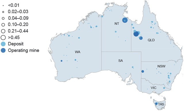 Zinc deposits production in Australia map